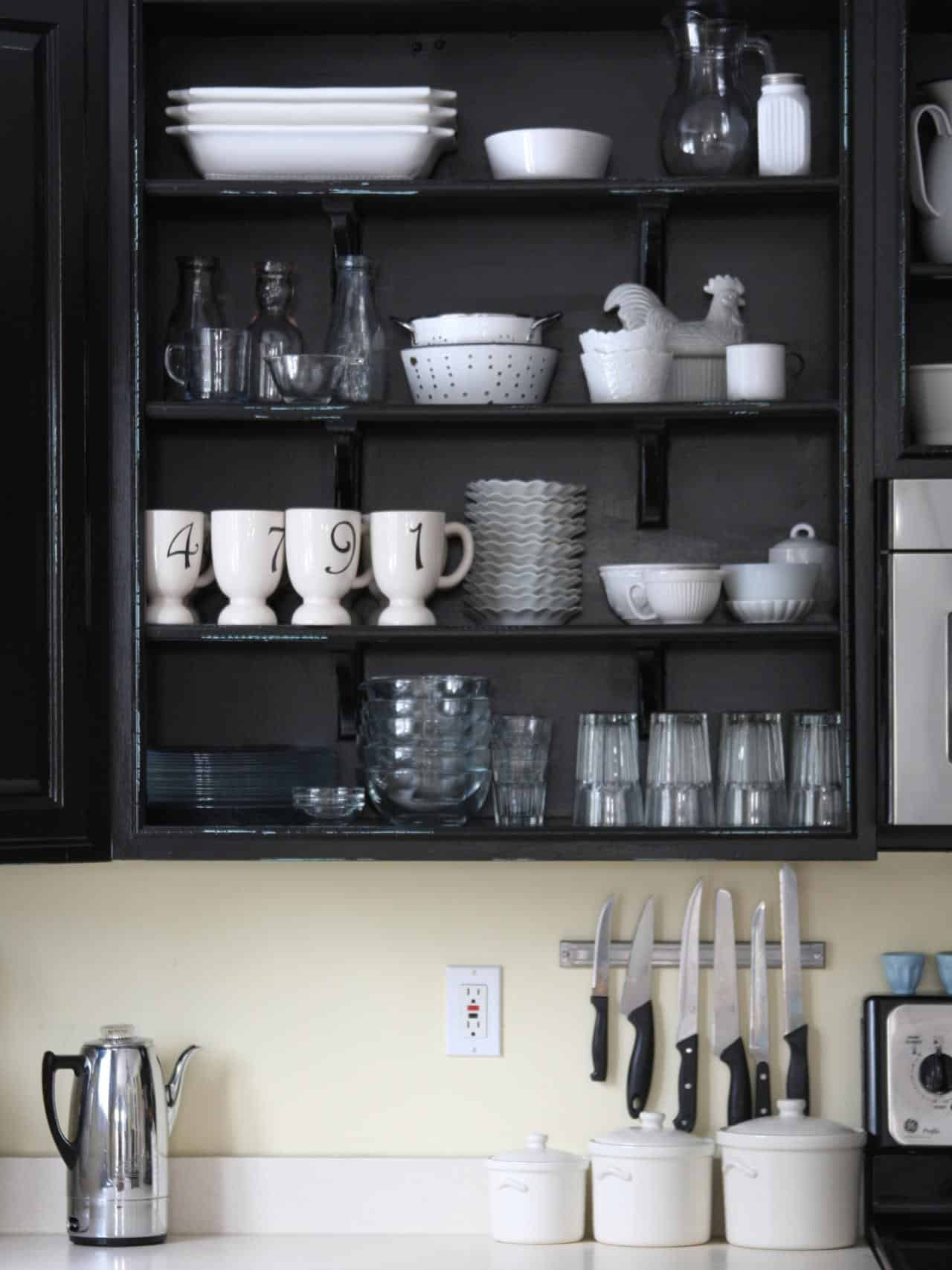 black open shelving kitchen
