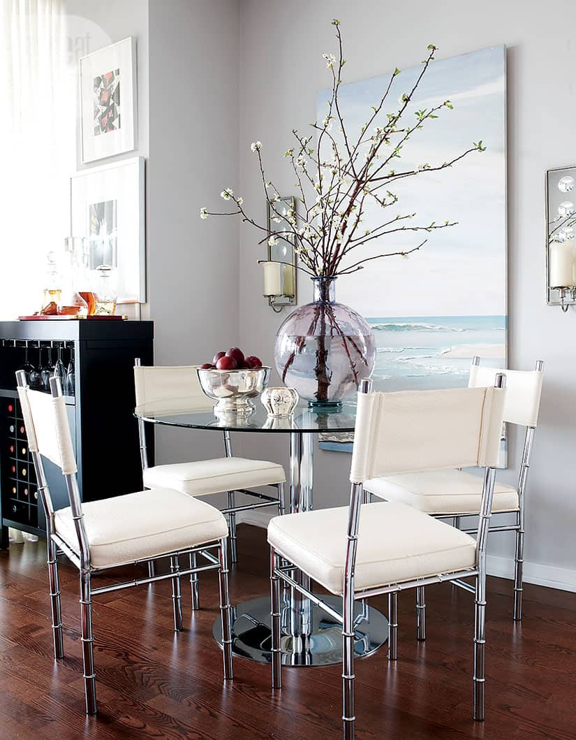 chic modern glass dining room table