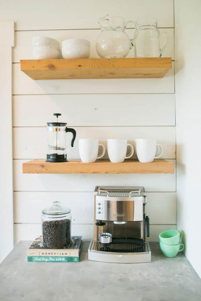 coffee bar open shelving