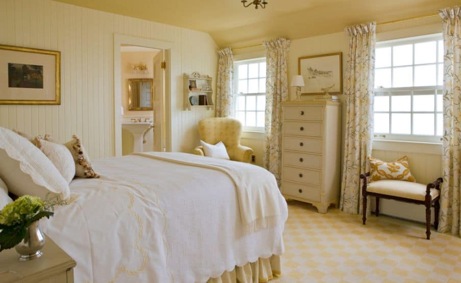 cottage style yellow bedroom