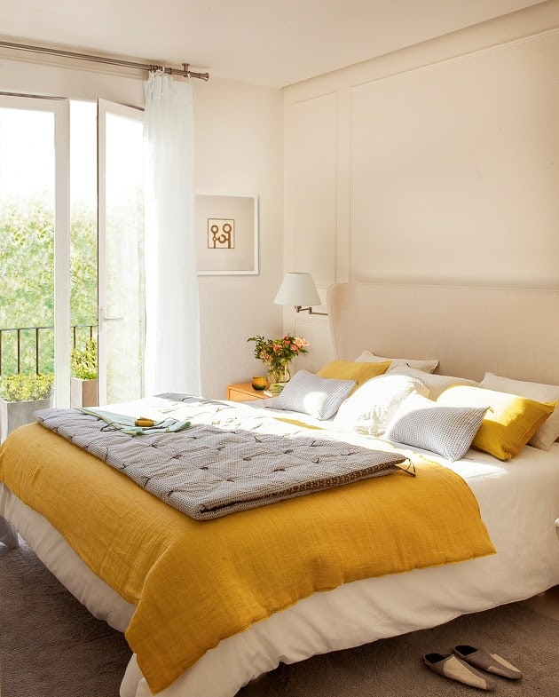 cream and yellow bedroom