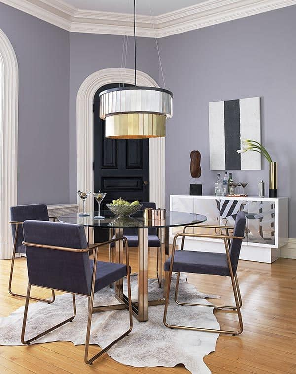 glass and copper round glass dining room table