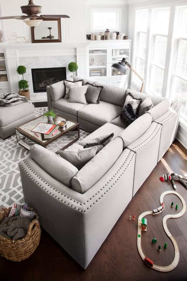 gray sectional sofa with studs