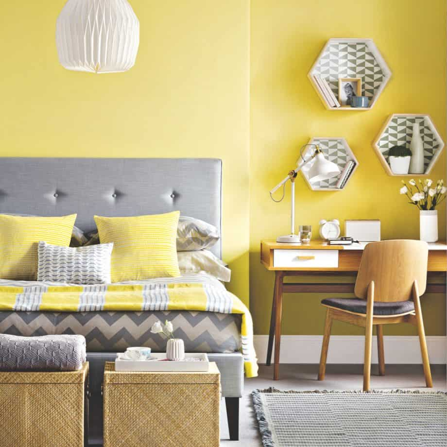 grey and yellow modern bedroom