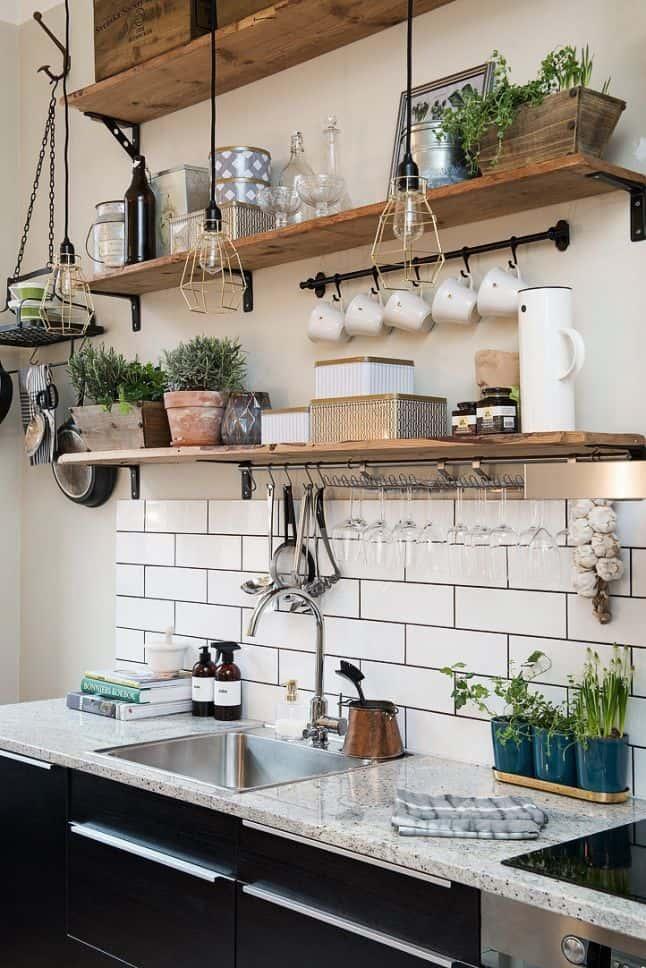 industrial kitchen open shelving