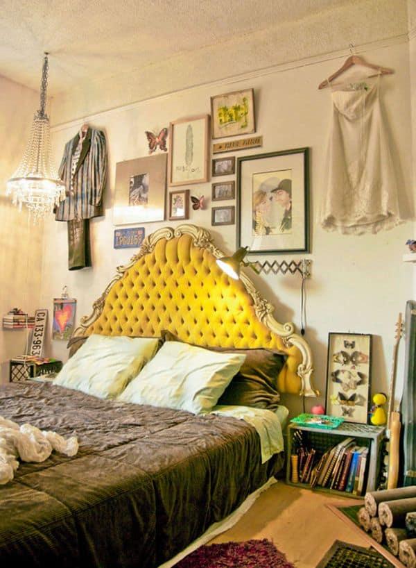 light yellow ecclectic bedroom