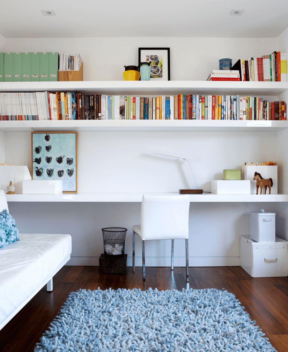 modern home office with open shelving