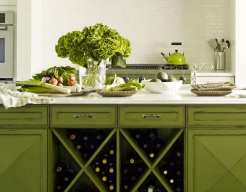 Although we love mossy green for a dining room it also works in your kitchen as a pop of color