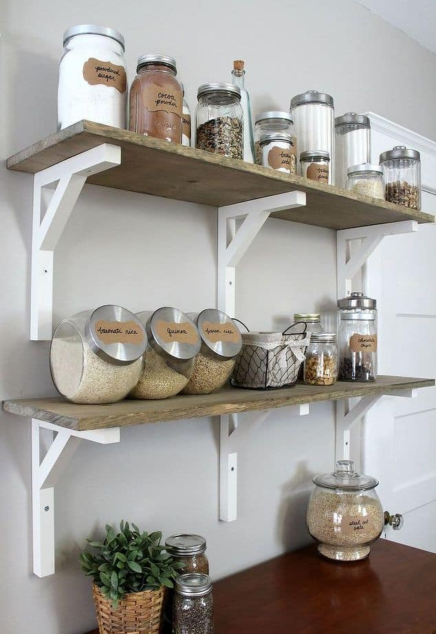 open pantry shelving with brackets