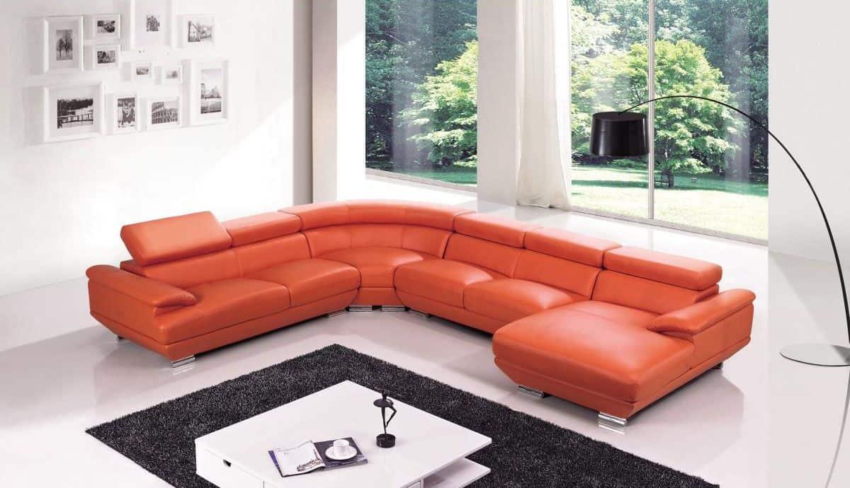 orange leather sectional sofa large