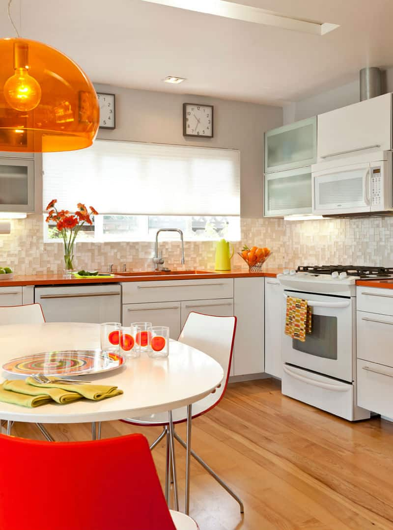 An orange pendant lighting is not only retro but it is also unique and fun
