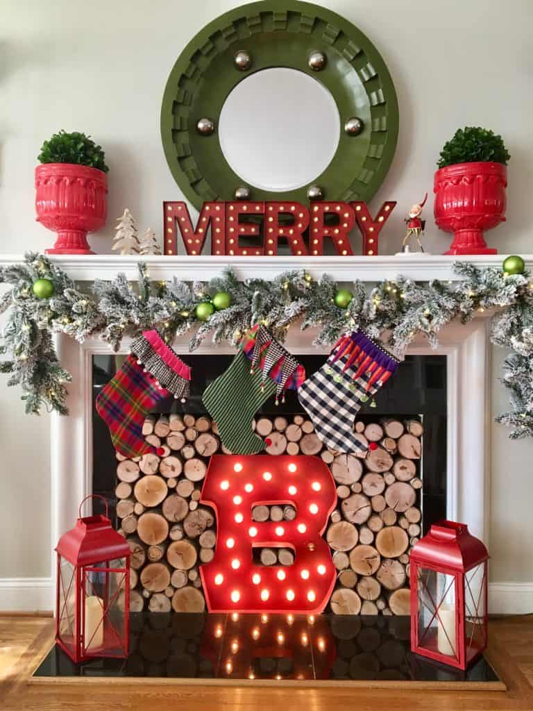 red lanterns 12 Country Ways to Bring Christmas Cheer to Your Mantel