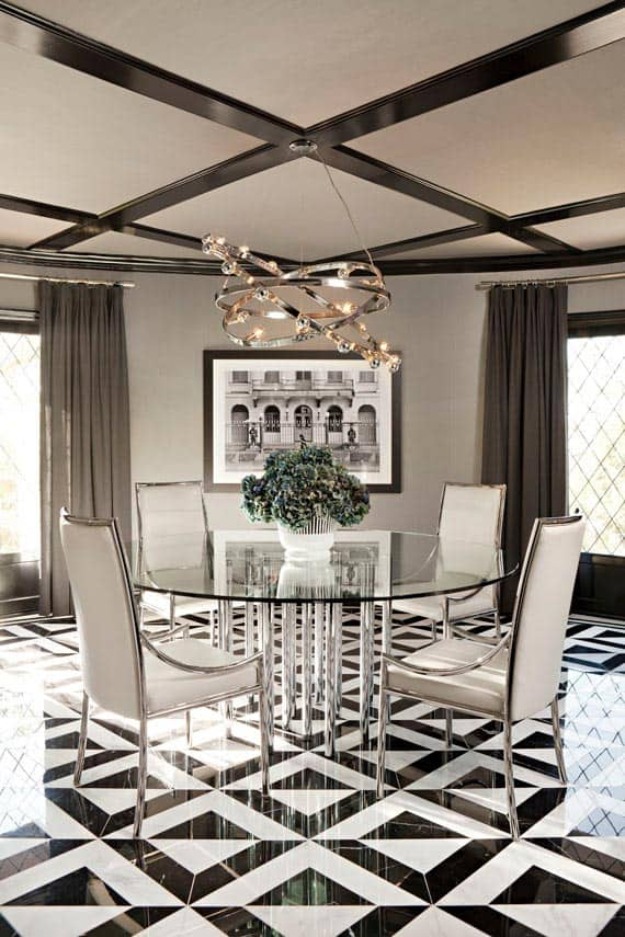 round glass dining room table modern glam