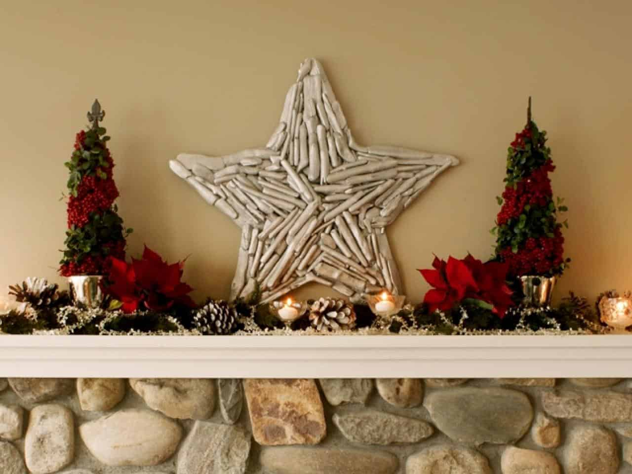 rustic star for christmas decir 12 Country Ways to Bring Christmas Cheer to Your Mantel