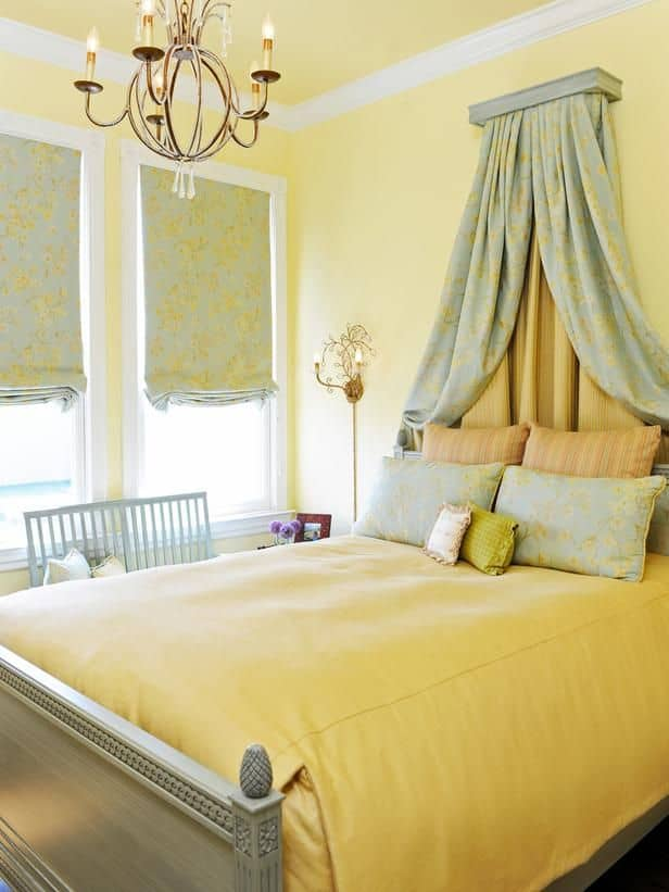sage and yellow victorian bedroom