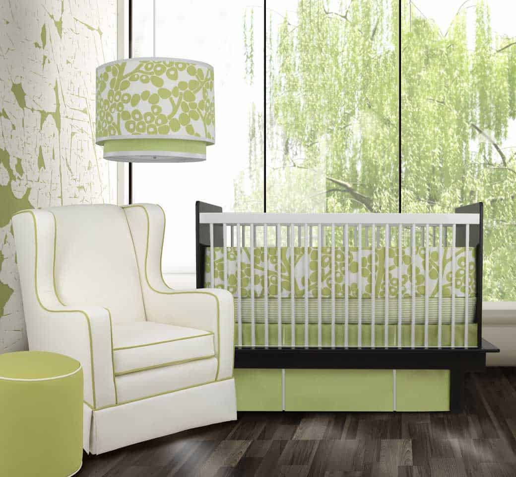 Sage green is such a unique color that it works well even in a nursery.
