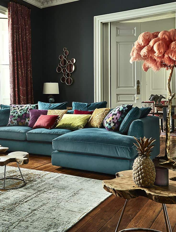 teal velvet large sectional sofa