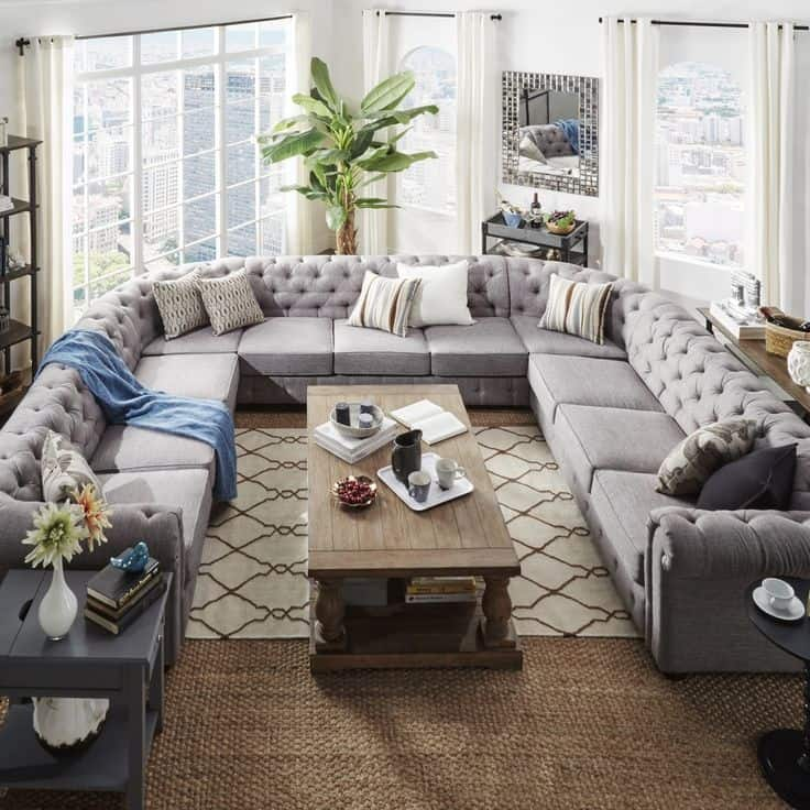 tufted sectional sofa large from overstock 15 Large Sectional Sofas That Will Fit Perfectly Into Your Family Home