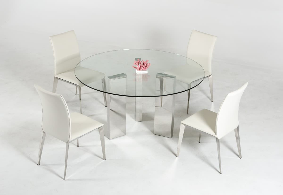 ultra modern round glass dining room table