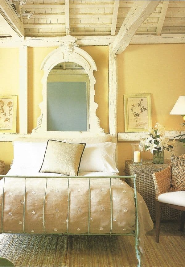 vintage inspired yellow bedroom