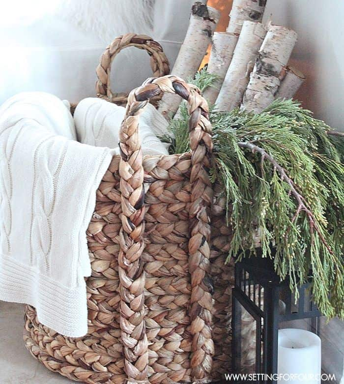 winter decor for the house wicker basket