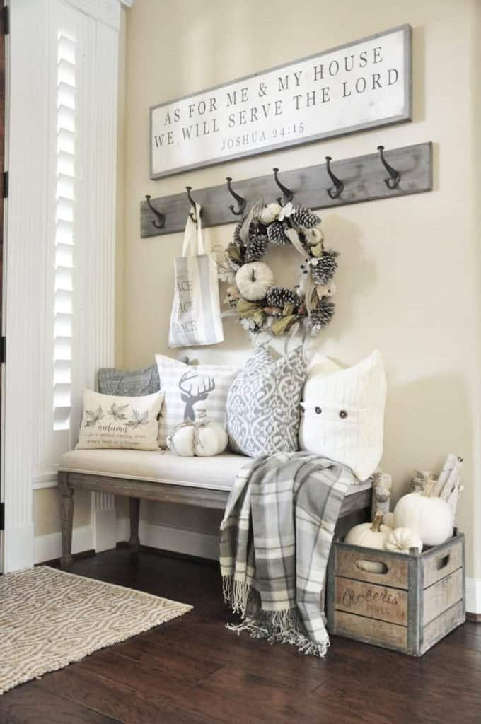 winter decorated mudroom