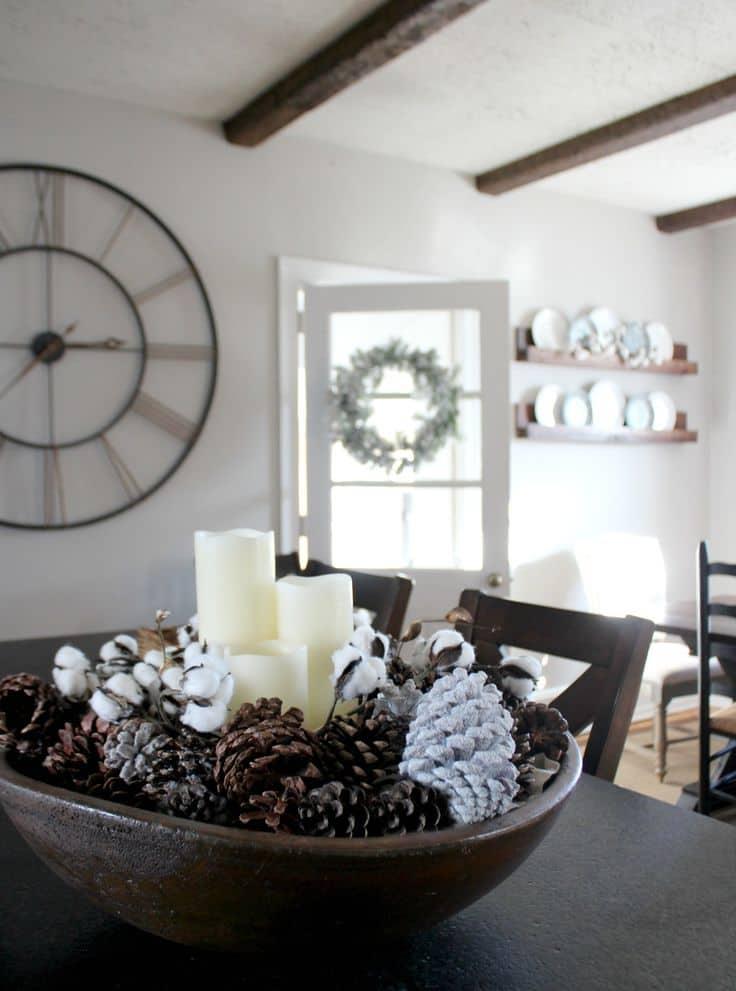 winter pinecone centerpiece