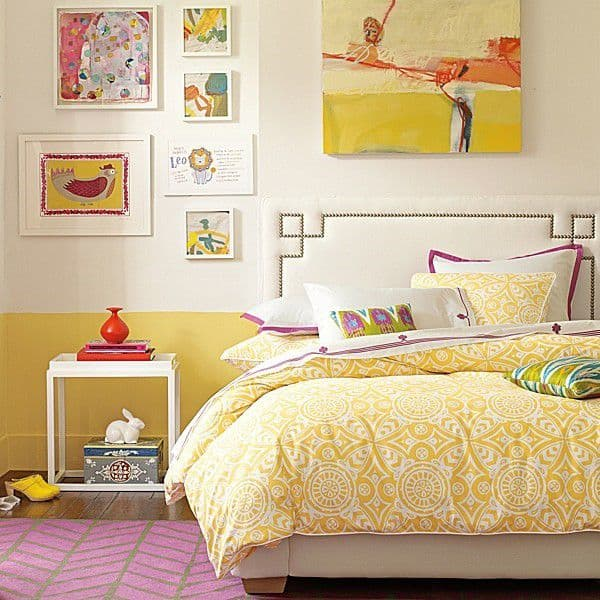 yellow and pink young bedroom