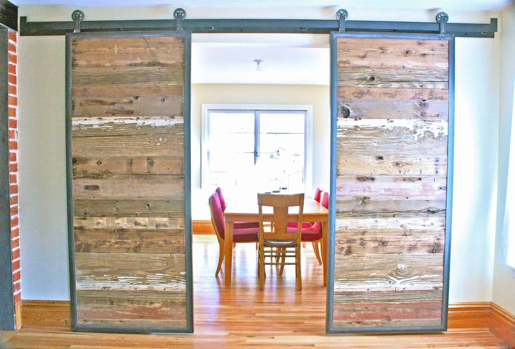 You can choose to use different barn doors for a less traditional look that still has the charming appeal barn doors have.