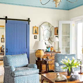 The pop of color from the French barn doors will enhance your decor.