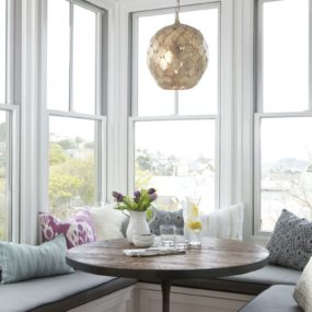 We love the idea of taking a modern breakfast nook and adding a glamorous touch to the space