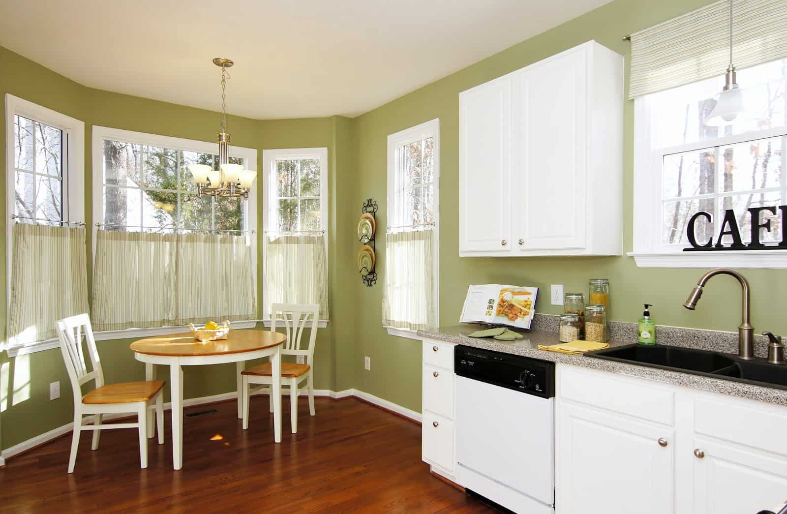 olive green Trendy Breakfast Nook Ideas