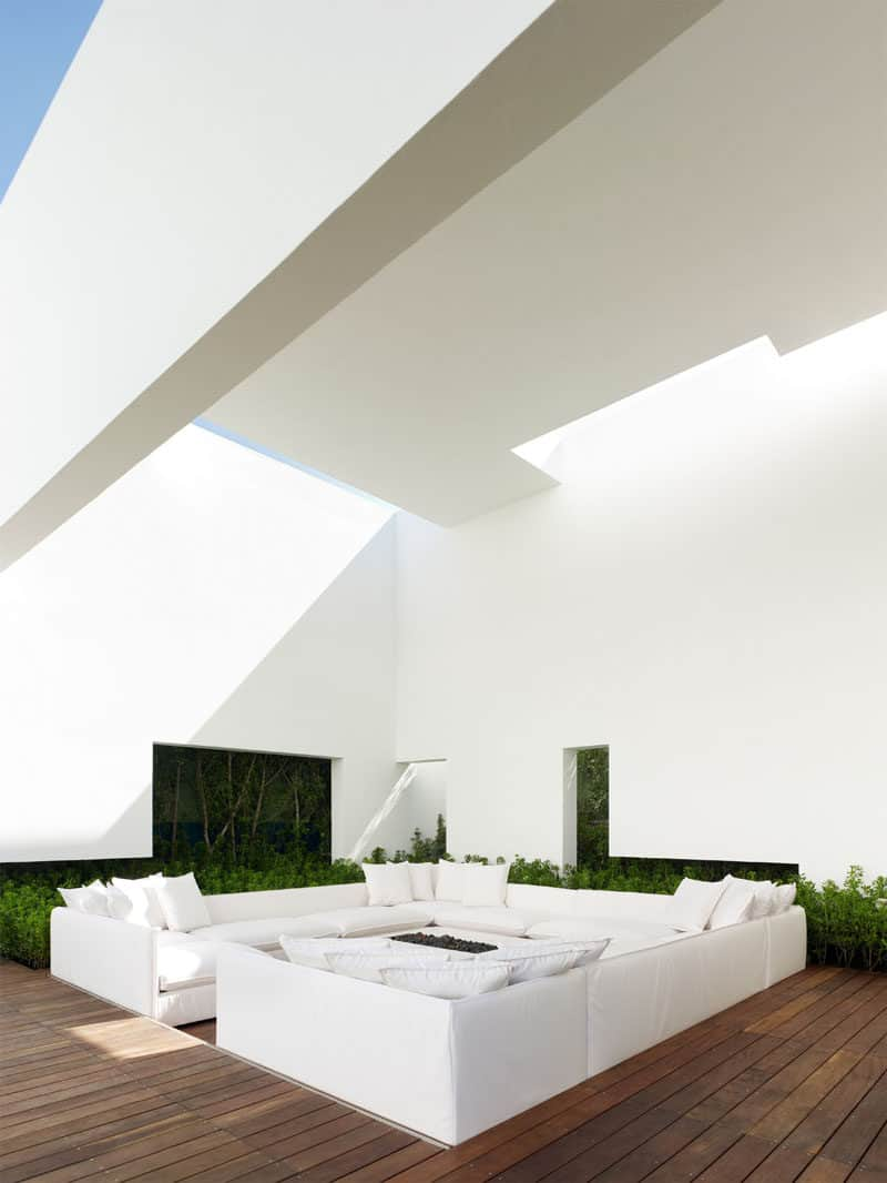 all white contemporary conversation pit