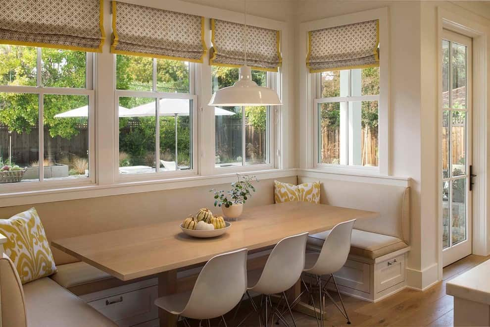 banquette seating ideas with natural light in kitchen