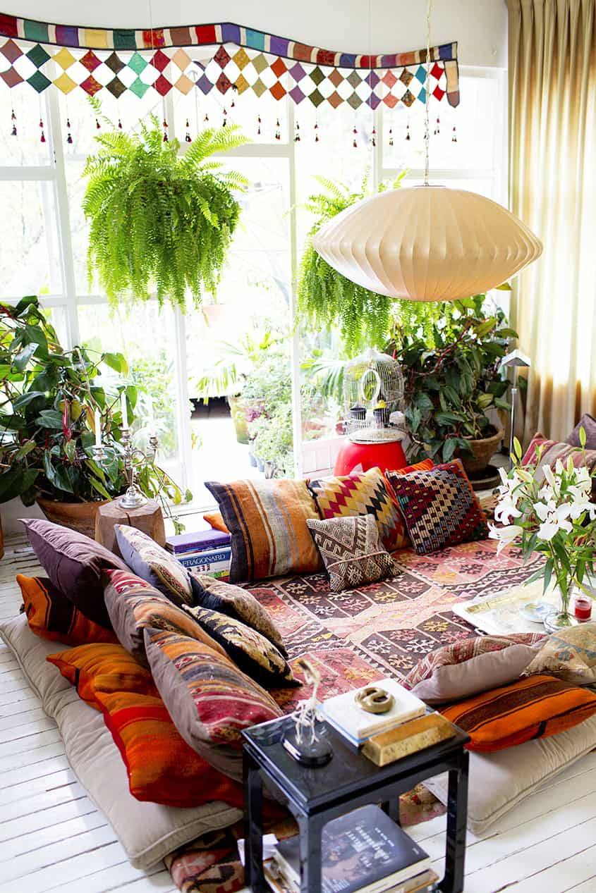 bohemian inspired conversation pit