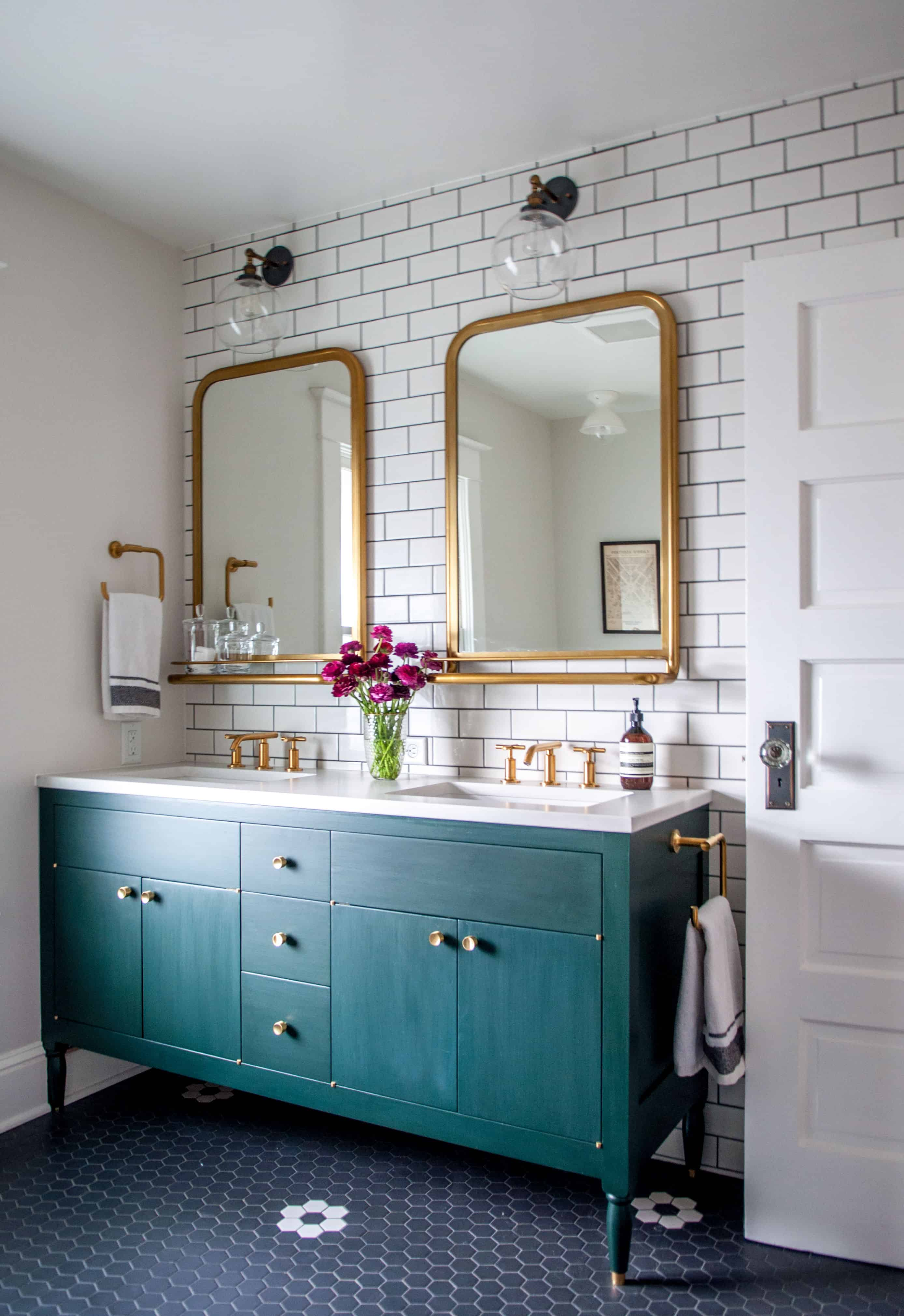 Brass accents are great because they work well in the bathroom as well as in the kitchen and any area of the home.