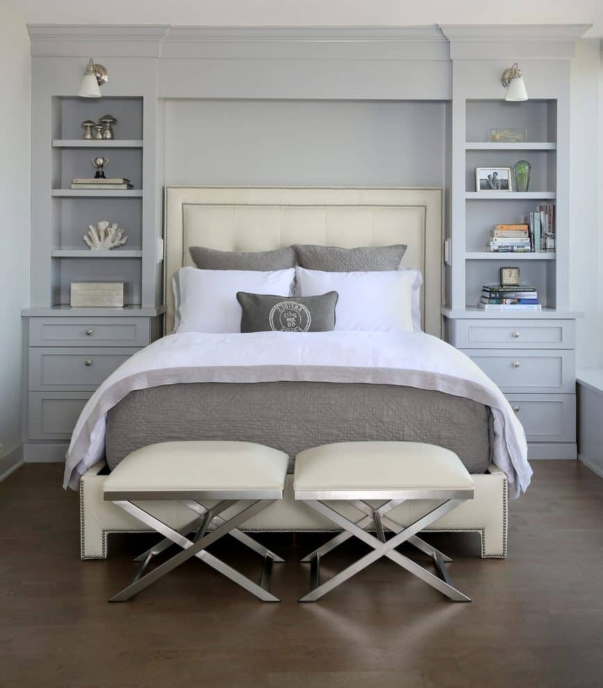 built in shelves as headboard Small master bedroom? Here's how to make the most of it