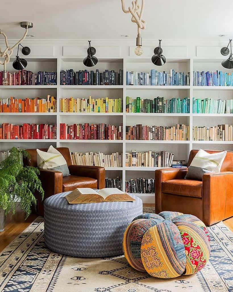 Color-coordinated books are great adding bold color in any room without taking crazy amounts of space.