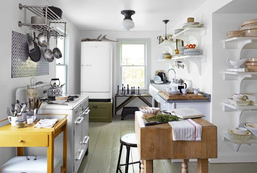 cottage grey and white kitchen with pop of color