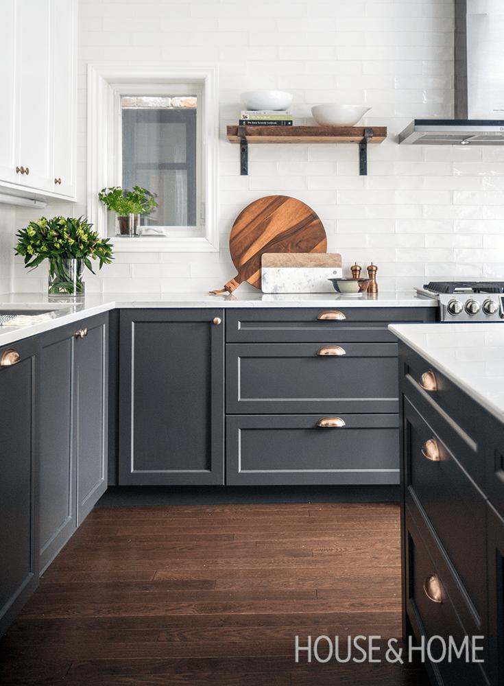 dark grey and white kitchen modern
