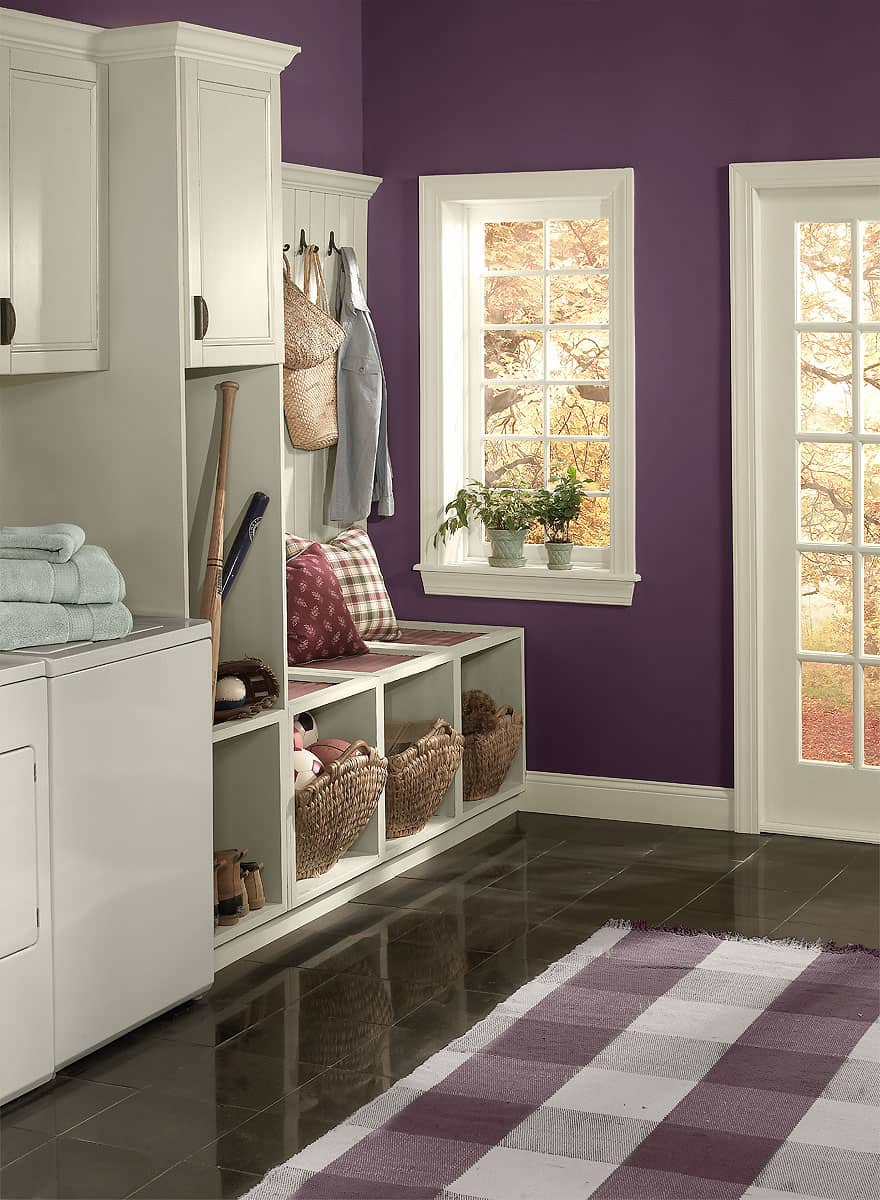 The deep purple hue works extremely well in an entryway because of how much texture and drama it adds