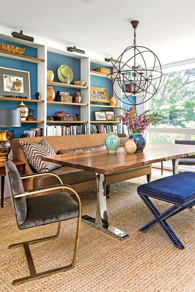 eclectic casual dining room with color