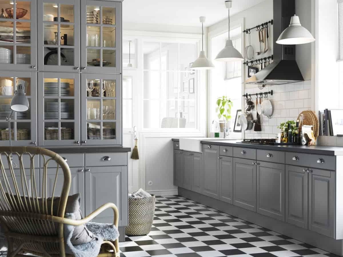farmhouse style white and grey kitchen