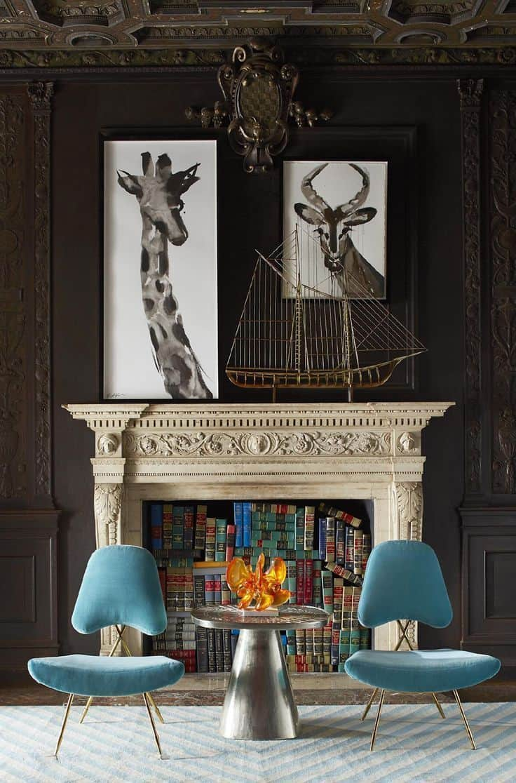 Fill a fireplace up with books to brighten a room.