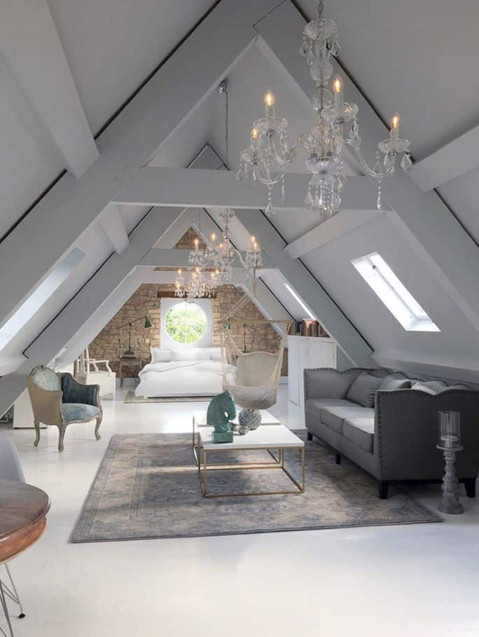 glam attic bedroom idea