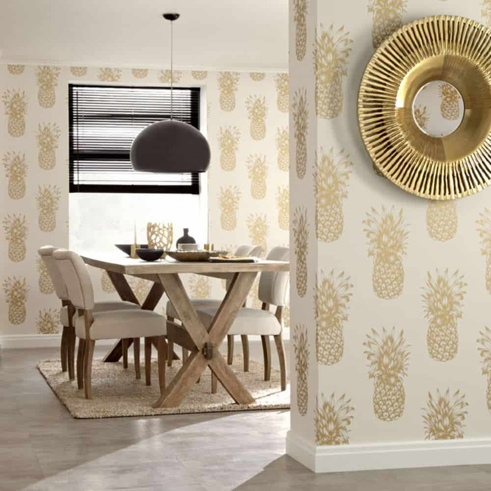 View In Gallery Gold And Cream Wallpaper 11 Breathtaking Dining Room  Wallpapers