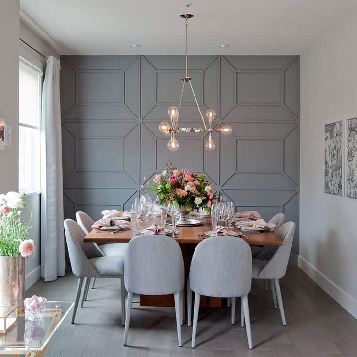 gray and wood casual dining rom