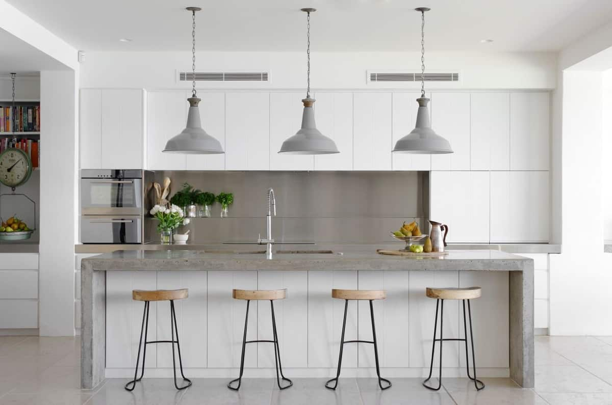 grey and white contemporary kitchen