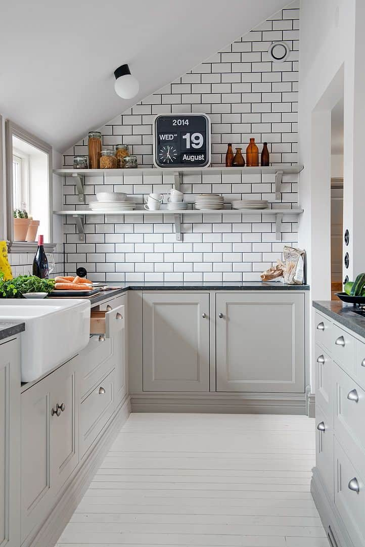 light gray and white kitchen contemporary