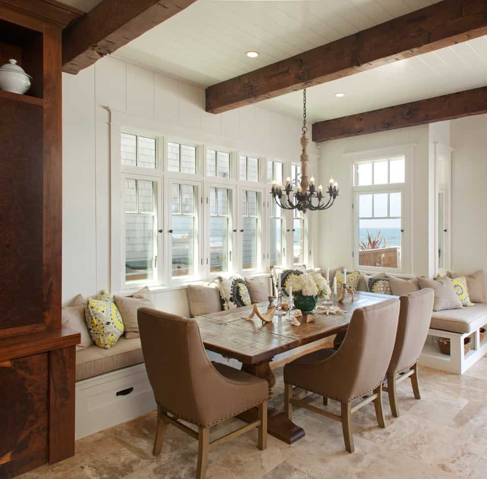 luxury rustic banquette kitchen seating